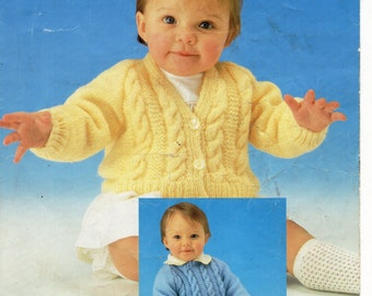 Baby Cable Sweater & Cardigan Baby Cardigan Baby Jumper Cable Jumper Cable Sweater 16-20 inch DK Baby Knitting Patterns PDF Digital download