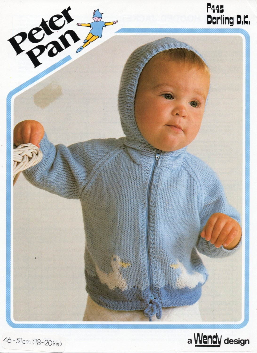 Knitting Pattern Baby Hooded Jacket : Baby Knitting Pattern baby hooded jacket duck motif by Minihobo