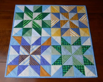 "Handmade Table Quilt, Patchwork Table Runner, Table Topper, ""Four Star Rating"" in Blue, Green and Yellow, 27"" x 27"""