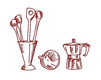 Embroidery Design Pattern Redwork, Kitchen Theme, Tea Towel, Wooden Spoons, Coffee pot