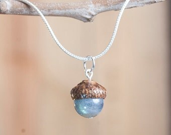 Real Acorn Necklace with Labradorite + Sterling Silver handmade by Nuttier Than A Squirrel - lustrous green, fairy, boho necklace, wedding