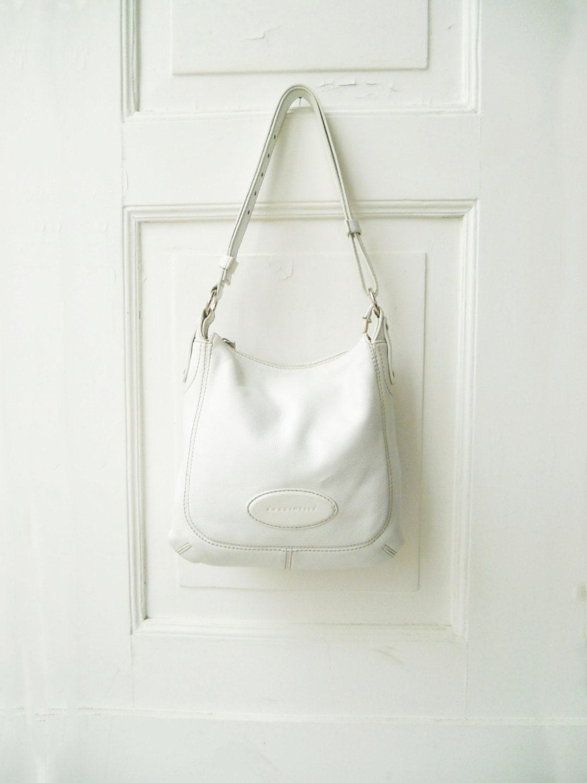 coccinelle vintage white bag genuine leather shoulder tote