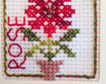Easy Historical Rose Embroidery. 3 in X 3 in. Cross Stich. Ages 6 and up.