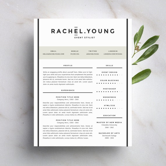 modern resume template and cover letter template for word diy