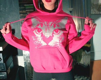 pink cat hoodie, cat clothing, silver cat, heliconia, cat pullover hoodie, 1AEON silver/pink unisex Hoodie, S-XXXL