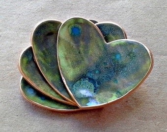 FOUR Ceramic Heart ring bowls With Gold Edge  2  1/2 inches  itty bitty Moss Green