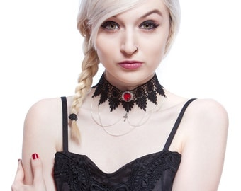 Ruby red gothic lace choker necklace  - Steampunk Chains, cross and ornate pendant - LUCRETIA in Ruby red