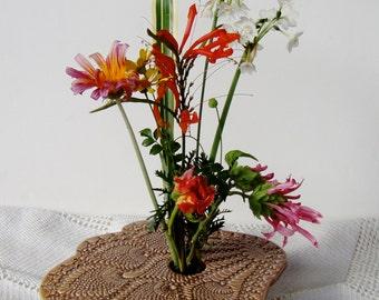 Ceramic Flower Vase, Handmade Pottery, Ikebana Vase, Doily Lace Vase