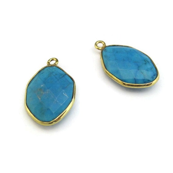 One Turquoise Charm, Gold Plated Bezel, Hexagon Shape, 20mm x 13mm, Gemstone Charm, Jewelry Supplies (C-Tq1b)