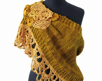 Handknitted and crochet poncho, cover shoulders, warm scarf, fashion poncho, twisted cowl gold, wedding cover up, bridal wrap, bridal cape