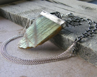 Specimen Labradorite Metalwork Necklace, Extra Large Statement Gemstone Pendant and Sterling Silver Chain