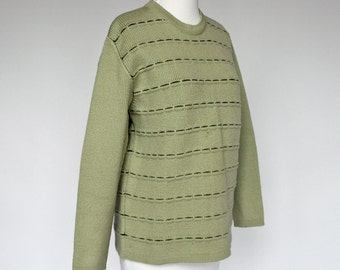 70's Wool Ski Sweater /  Crew Neck / Obermeyer / Mint Green / Medium to Large