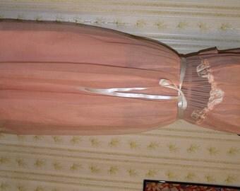 Vintage 1960s Peach Nylon Negligee, Honeymoon Nightgown, 38, Medium