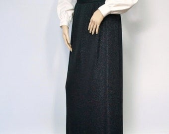 Skirt Vintage Maxi Skirt Sparkle Skirt Black Pencil Skirt Long Knit Toni Todd Festive 28 Inch Waist