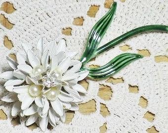 Vintage Sandor White Enamel Faux Pearl Floral Brooch  (B-1-6)
