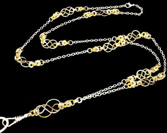 Fashion ID Lanyard with Celtic Knots and Byzantine in Two Tone--Silver and Gold, ID Badge Holder, Breakaway Lanyard, ID Badge Necklace