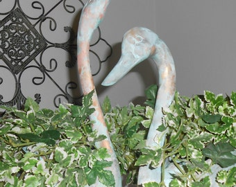Large Brass Swan Planters with Verdigris Patina