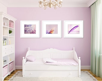 Girl room decor set of 3 prints, purple nursery wall art, butterfly print, feather print, purple art, toddler girl room, set of 3 photos