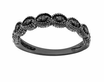 Fancy Black Diamond Wedding Ring, Wedding Band, 14K Black Gold Vintage Antique Style Engraved 0.12 Carat