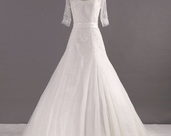 Illusion Neckline Embroidered Wedding Dress with Tulle Sleeves