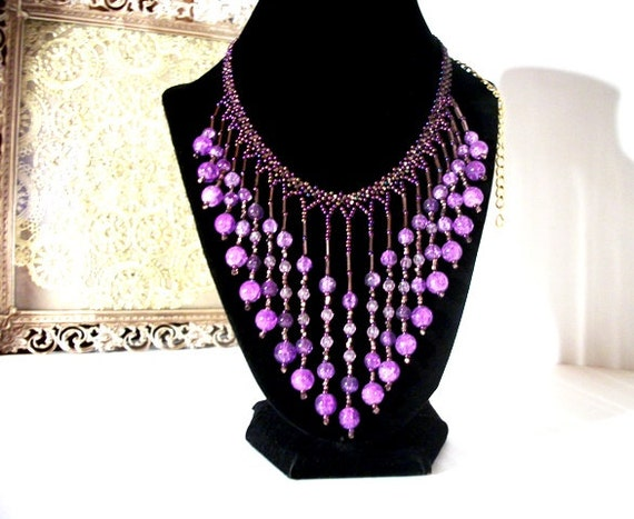 Metallic Purple Beaded Bib Necklace for Women Gift Ideas for her