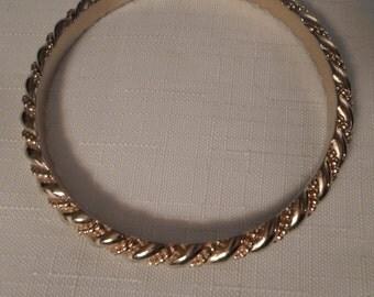 Vintage / TRIFARI BANGLE BRACELET / Gold / Twisted Rope / Designer / Signed / Art Moderne / Modernist / Retro / Chic / Hip / Mod / Accessory