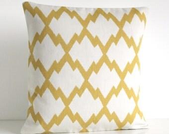 Trellis Pillow Cover, 18x18 Cushion Cover, Ikat Pillow Sham, Sofa Pillows, Pillow Slip, Pillowcase - Ikat Trellis Yellow