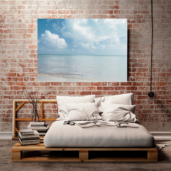 "Nautical Decor, Ocean Photography, Nature Photography, Art, Summer Clouds, Pale Blue Wall Decor, Coastal, ""Pastel Sea"""