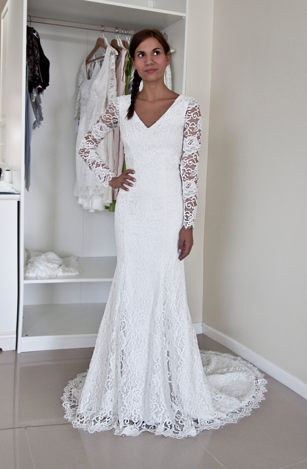 French lace wedding gown with v neckline buttoned back and for French lace wedding dress