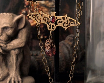 LAST CHANCE Clearance 50% Off Antique Brass Garnet Bat Necklace Vampire Born 13.5 inches to 15.5 inches Adjustable
