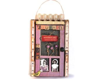 "wall hanging, mixed media original, assemblage, 12"", repurposed book cover, book art, bird, home, journey, lavender,  pink,door, flash bulbs"