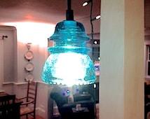 The Original Insulator Light Antique Repurpose Lighting Handmade Antique Blue Insulator Pendant Light Blue Lighting blue glass pendant