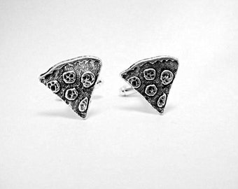 Mens Cufflinks,   Slice Of Pizza Silver,  Mens Accessories Handmade