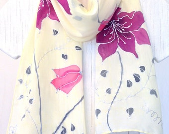 Hand Painted Silk Scarf Purple and Pink Clematis Vine, Floral Scarf. Yellow Silk Scarf. Silk Crepe. 8X54 inches.