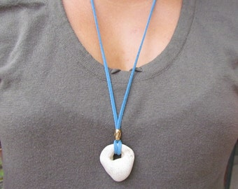 Amulet Holey Stone Necklace. Beach Stone Zen Pendant in Suede Cord. Natural Hole Hag Stone. Wicca Stone Talisman Necklace Lucky Charm.
