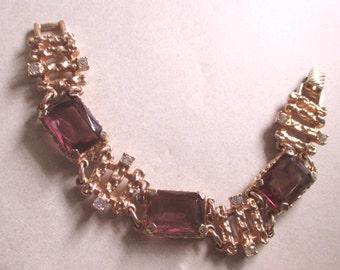 Sarah Coventry Rhinestone Bracelet Vintage Baroque Purple Open Back Glass  signed costume jewelry amethyst