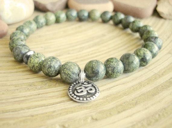 Mens Om Bracelet - Serpentine Bracelet for Men with Hematite and Silver Charm, Green Stone Mala Beads