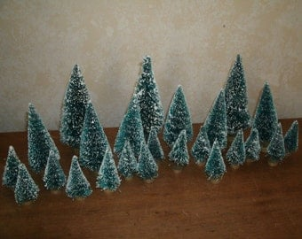 """24 Sisal / Bottle brush FROSTED Trees Asst. - 2"""" - 4.5"""" Holiday Miniatures"""