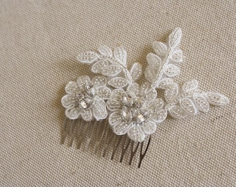 Silver Crystal Lace Bridal Comb, Beaded Lace Bridal Accessory,  Lace Headpiece, Wedding Hairpiece, Rhinestone Bridal Comb, Small Floral Comb