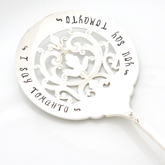 As Seen In Stitch Magazine, Tomato Sever: you say toMAYto, i say toMAHto. Vintage hand stamped tomato server for housewares and table decor