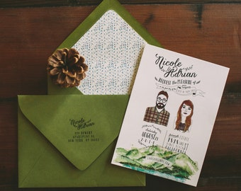 Lake Tahoe Wedding Invitation:  Custom Couple Illustration and scenery