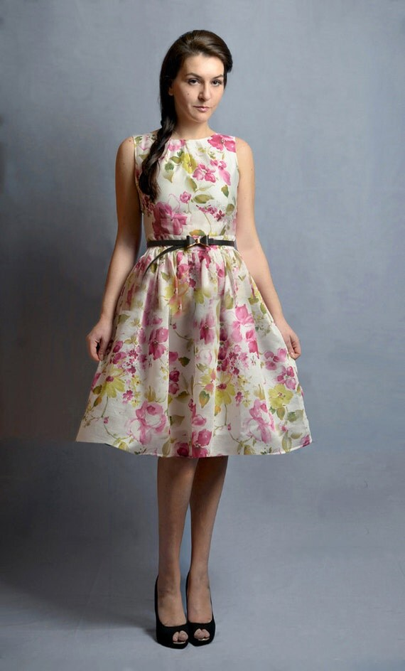 Silk Floral Dress, custom made