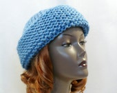 Serenity Blue Hat, Russian Style Hat, Hand Knit Hat, Chunky Knits, Cossack Style Hat, Warm Slouchy Hat, Handmade in the USA, Ready to Ship