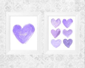 Purple Nursery Art, 11x14 Set of 2, Watercolor Art, Personalized Nursery Art, Lilac Nursery, Purple Girls Room Decor, Lavender Personalized