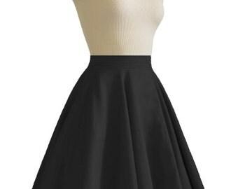 JULIETTE Black Rockabilly Swing Rock 'n Roll Skirt//Full Circle Black Skirt//Retro Mod 50s style Skirt//Party Skirt XXS-3X