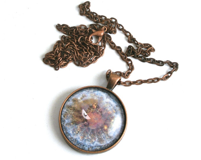 "Original Jellyfish Photograph set in an Antique Copper Bezel Pendant with a High Quality Glass Cabochon on an Antique Copper Chain, 16""-24"""