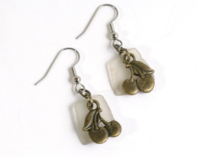 Rhode Island White Sea Glass Earrings with Antique Brass Cherries with Your Choice of Sterling Silver or Surgical Stainless Steel Ear Wires
