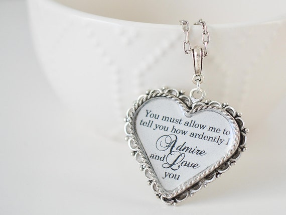 Mr. Darcy Heart Necklace - Pride and Prejudice Necklace - Long Pendant Necklace - Jane Austen Jewelry - Pride and Prejudice Book Necklace