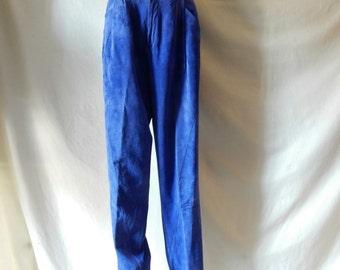 "20% SALE! Sz 10 12 Suede Leather Pants - 29"" Waist - 80s - Pleat Front - High Waist - Saphire  Blue - Soft Suede - 20 OFF!"