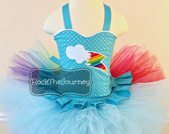 Rainbow Pony Birthday Party Tutu Outfit-Little Neon Art Halloween Pageant Dress Costume-Cloud Shirt Skirt-Baby Girl After The Storm 1 First